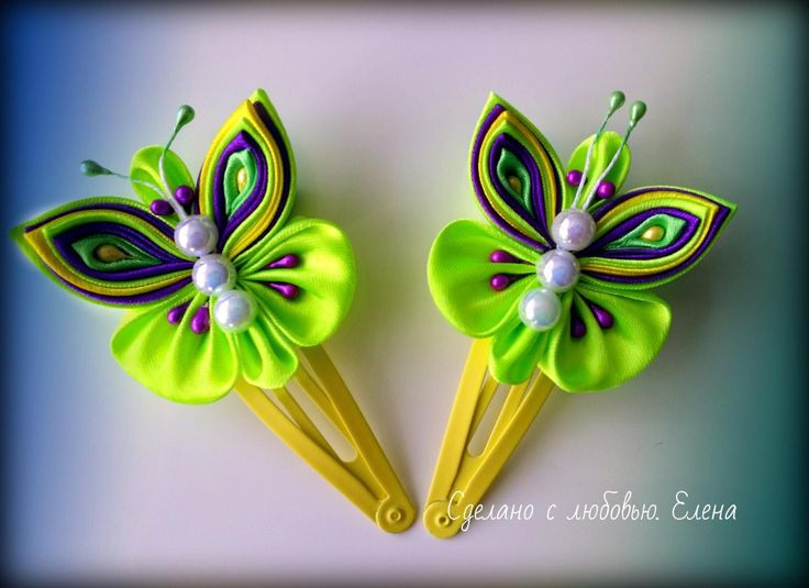 Flower Kanzashi Master Class hand made DIY Tutorial Канзаши МК Заколки б...