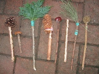I love projects that connect different camp activities. They're paintbrushes made out of different things found on the hike