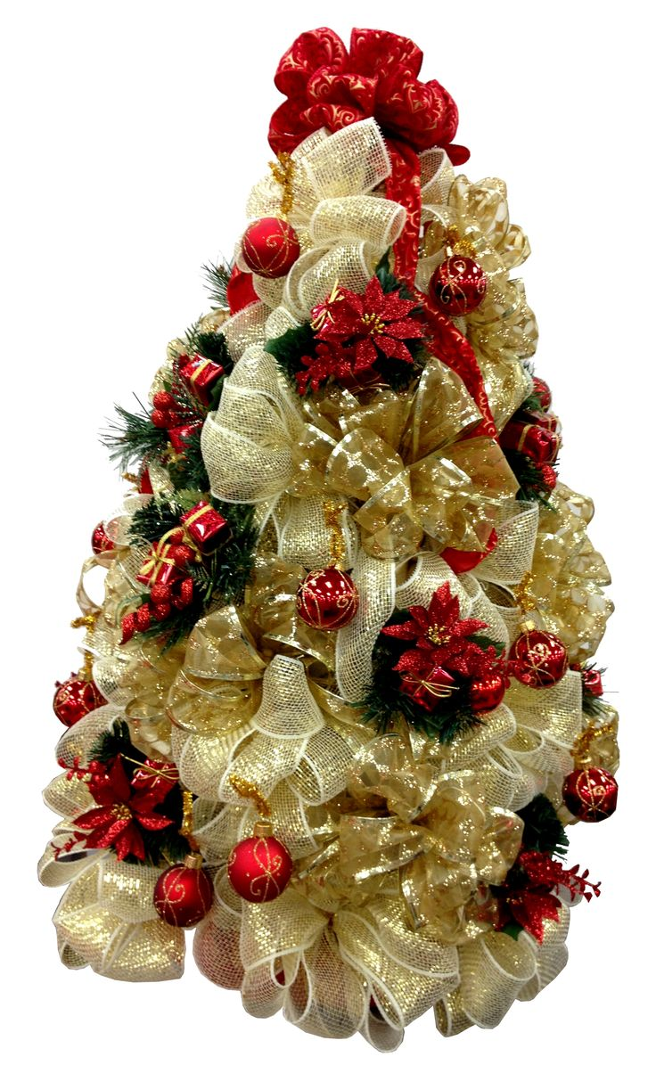 Golden Deco Mesh Christmas Tree Designed By Toni M, Ac Moore Clay, Ny
