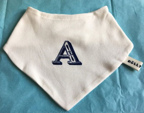 Screen printed Initial Bib by DollyOliveShop on Etsy