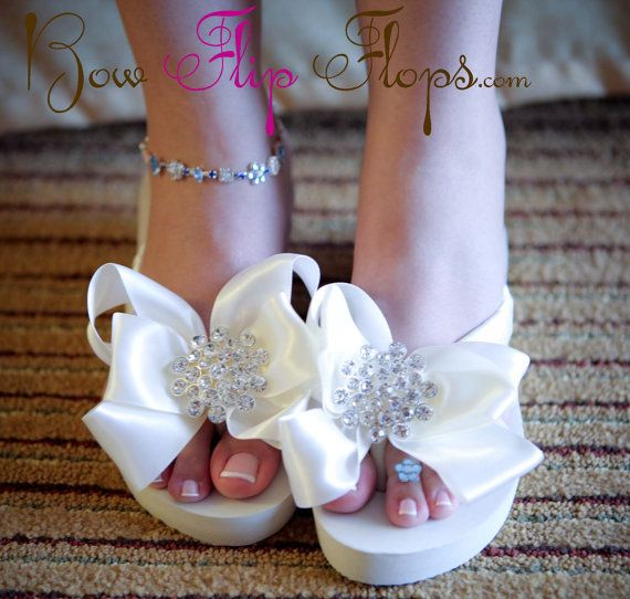 Ivory White Bridal Flip Flops Wedding Wedge With Heel Or Flat Jewel Rhinestone Bow For The Bride Platform Bridesmaids Bling
