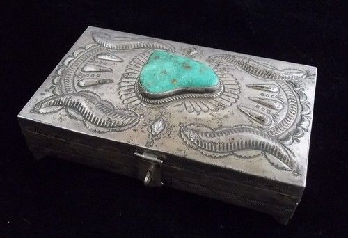 Vintage Navajo Silver and Turquoise Jewelry Box Huge Old Pawn ST561   eBay