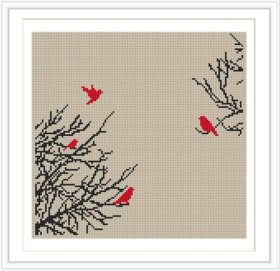 Bird Tree Cross stitch pattern, cross stitch PDF, silhouette cross stitch, Instant Download, Free Shipping, MCS007