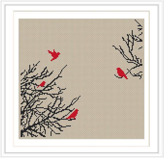 Bird Tree Cross stitch pattern, cross stitch PDF, silhouette cross stitch, Instant Download, Free Shipping, MCS007