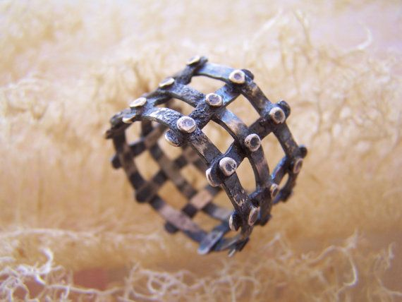 silver handmade medieval cage ring by archegono on Etsy