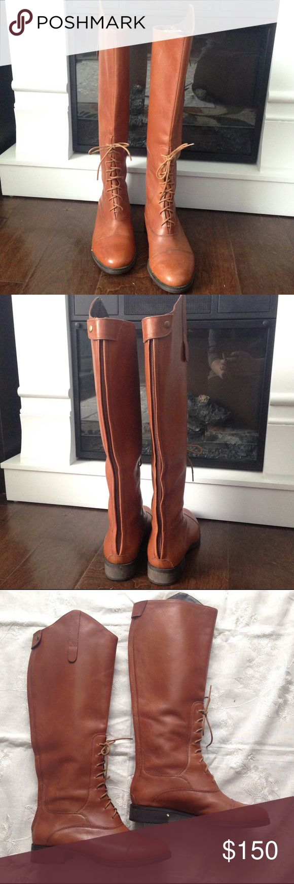 🆕 Joie tall leather boots Perfect for that adorable dress or your favorite jeans, these stunning half lace leather knee high boots from Joie stand out from the crowd! In gorgeous condition! Full zipper and snap up the back of the boots. Hardly any wear at all, small chip out of heel and slight water mark on one boot toe. Size 36, color is a very light brown. Joie Shoes