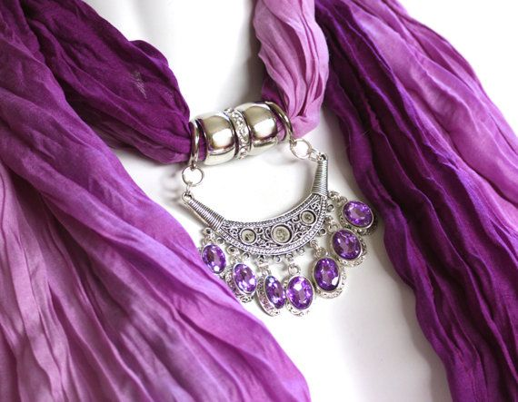Pendant Scarf Jewelry Purple Ombre Pendant by RavensNestScarfJewel, $25.00