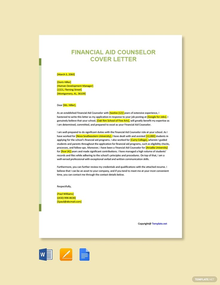 Free Financial Aid Counselor Cover Letter Template AD