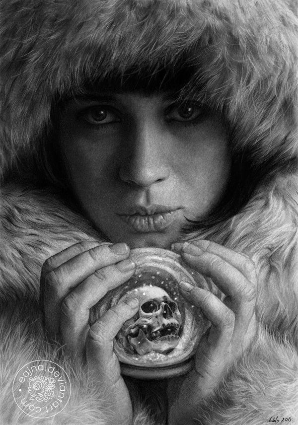 Winter - Cozy winter pencil art. True to the winter season, the comfort of the fur drawn in this masterpiece is truly remarkable and gives us the feeling of warmth and contentment.
