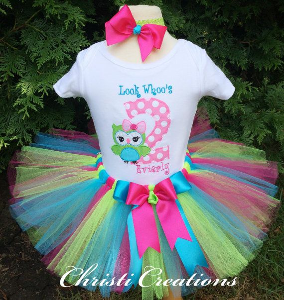 Baby Girl 2nd Birthday Tutu  Owl Themed Party by ChristiCreations