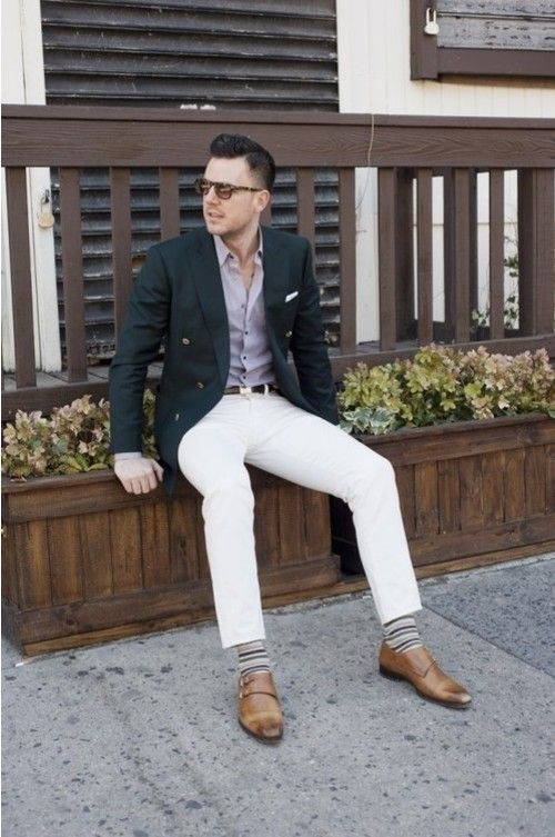 Shop this look for $331:  http://lookastic.com/men/looks/jeans-and-blazer-and-dress-shirt-and-double-monks-and-socks-and-pocket-square-and-belt/1  — White Jeans  — Black Blazer  — Purple Dress Shirt  — Brown Leather Double Monks  — Grey Horizontal Striped Socks  — White Pocket Square  — Brown Leather Belt