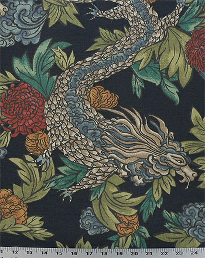 Drapery Upholstery Fabric Linen-Look Slub Asian Flowers & Dragons - Navy #Unbranded