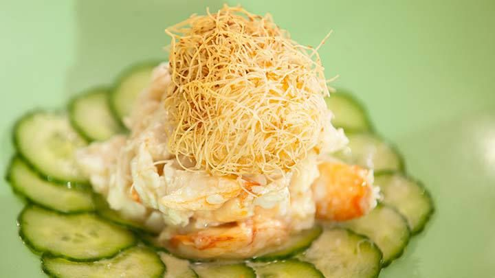Crab Salad with Cucumbers and Crunchy Coconut Kataifi