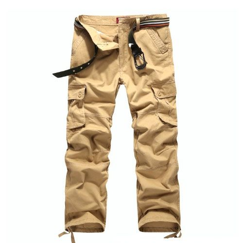 Pantalon Homme Cargo Essential Men Fashion Poches Militaire Beige