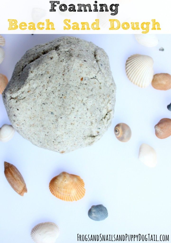 Foaming Beach Sand Dough Play Recipe for sensory and science play activities for kids