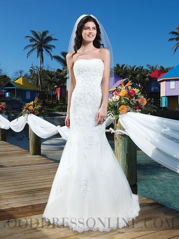 2014 Gorgeous Appliques Sheath / Column Strapless Organza Wedding Dresses
