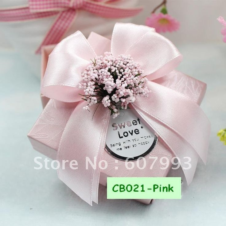 Sweet Love Wedding Favor Candy Boxes With Babys Breath