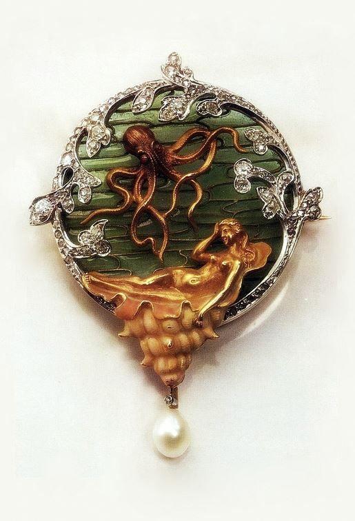René Lalique | Art Nouveau Octopus & Mermaid  Brooch  - Gold,  Pearl, Enamel, Diamonds.