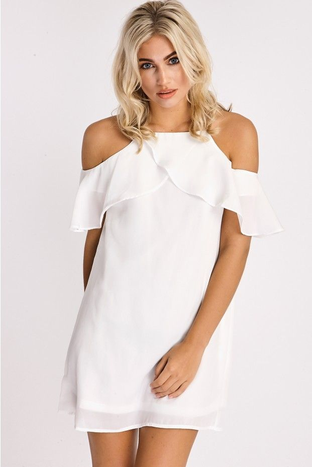ECHO WHITE FRILL DETAIL COLD SHOULDER DRESS