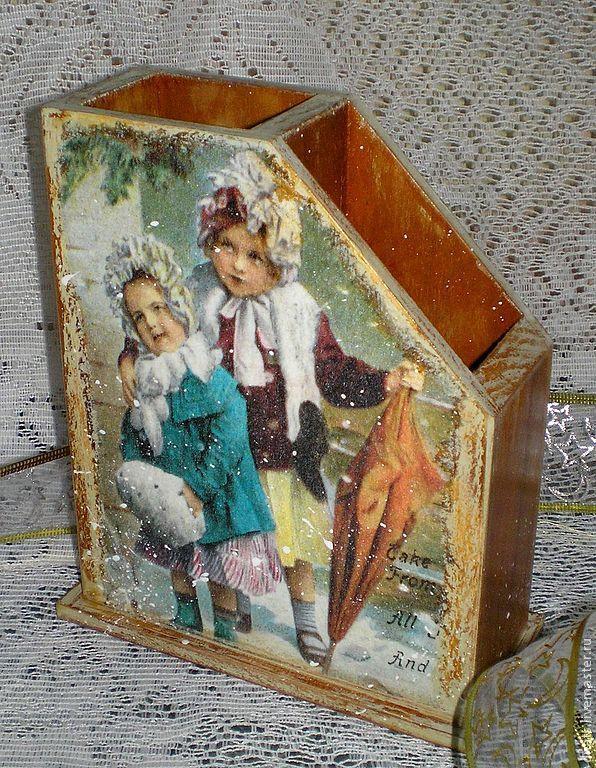 """Подставка для карандашей двойная """"Детство"""" - карандашница,подставка для карандашей"""
