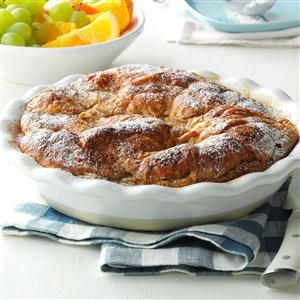 Croissant Baked French Toast Recipe -My best friend and son's godfather introduced me to this recipe. It is a perfect holiday or Sunday brunch menu addition. It is easy to make and has a rich taste, so you can't help but feel a little fancy while eating it. We recently enjoyed this at a special family occasion, and now it is a favorite. I like to bake it, but it can also be made in a stovetop skillet. &mdash Provided by Amanda Wilson, Culinary Specialist, on behalf of Physicians Mutual…