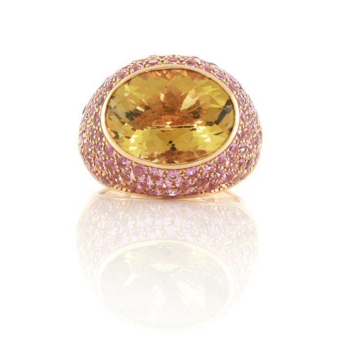 An 18ct Rose Gold, Citrine and Pink Sapphire Dress Ring