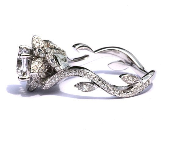 Flower Rose Lotus Diamond Engagement or Right Hand  Ring Setting - 1.03 carat - 14K white gold  - fL07 via Etsy