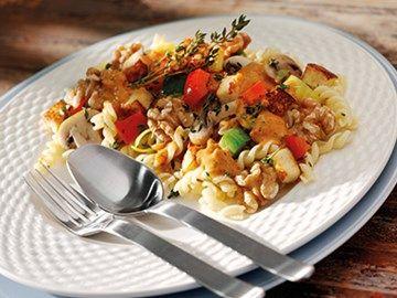 Pasta met seitan en champignons