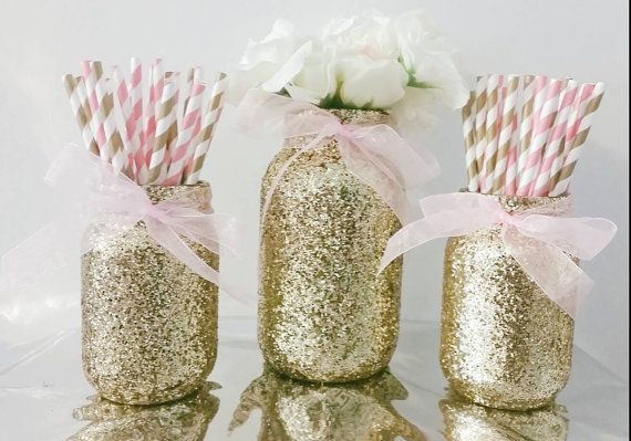 Pink and gold mason jar set, party mason jar set, Centerpiece set, party kit, paper straws and mason jars, mason jar centerpiece, birthday