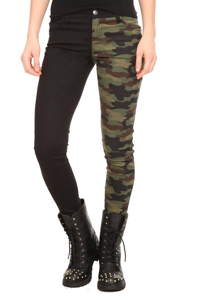 ROYAL BONES CAMO SPLIT LEG SKINNY JEANS | Hot Topic