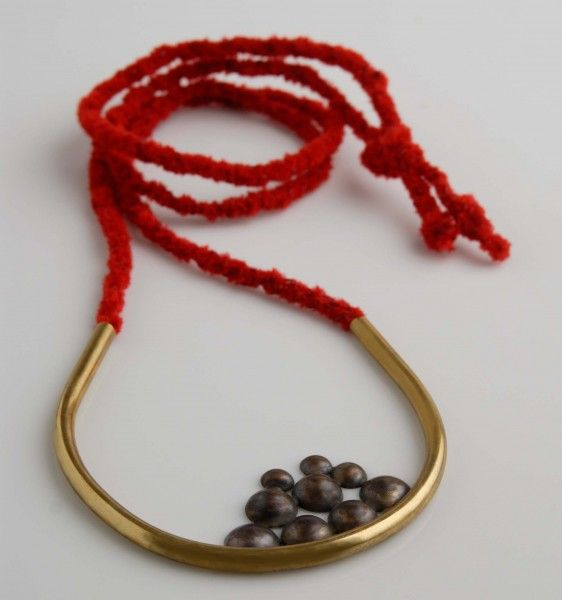 Male – Female, Exhibition Syn Apeiro Necklace bronze gold plated, hand made cord with the Kumihimo technic back side