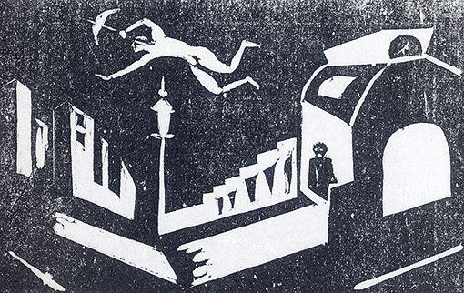 谷中安規『影絵芝居』木版画
