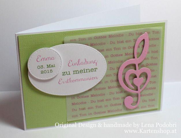 Einladungskarten - Einladung Kommunion *TON IN GOTTES MELODIE* - ein Designerstück von www-Kartenshop-at bei DaWanda