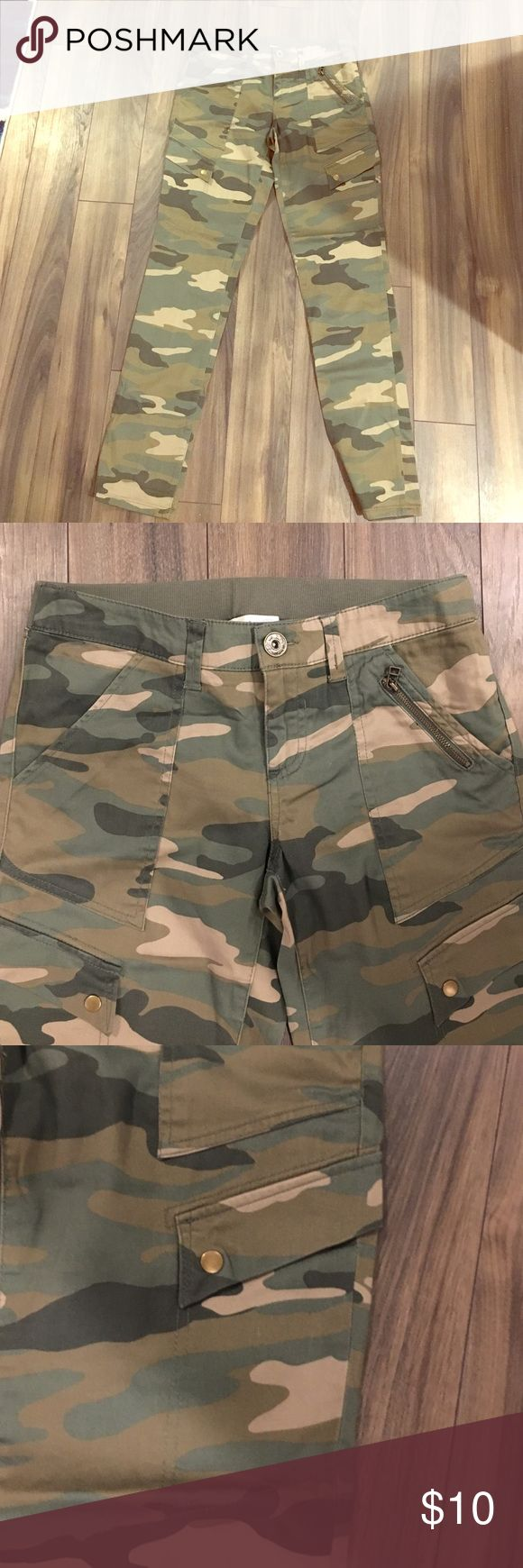 Camo Skinnies! So comfy! These are NOT jeans-- they are made of a soft cotton. Jolt Pants Skinny