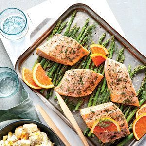 Dilly Salmon Packets with Asparagus | http://MyRecipes.com