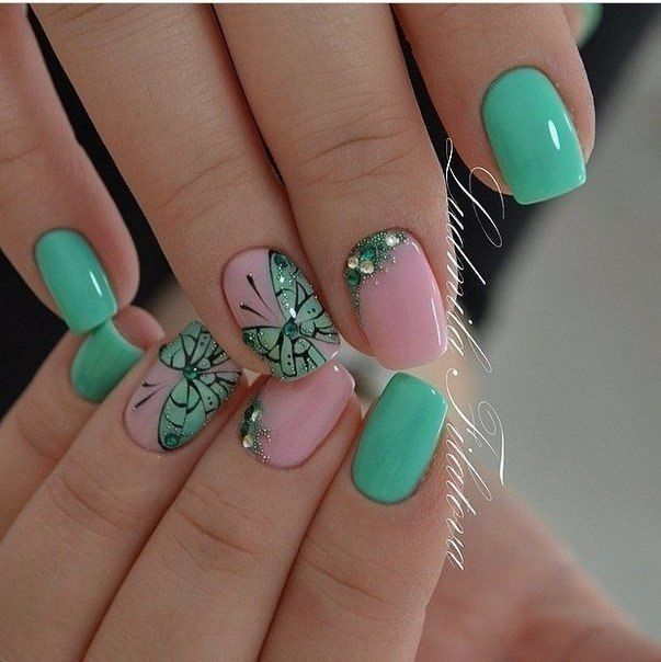 Butterfly Nail Art Manicure 2018 Nails Trends 2018 Nails With Rhinestones Ideas Pink And Lime Green Nails Sp Butterfly Nail Art Green Nail Art Green Nails