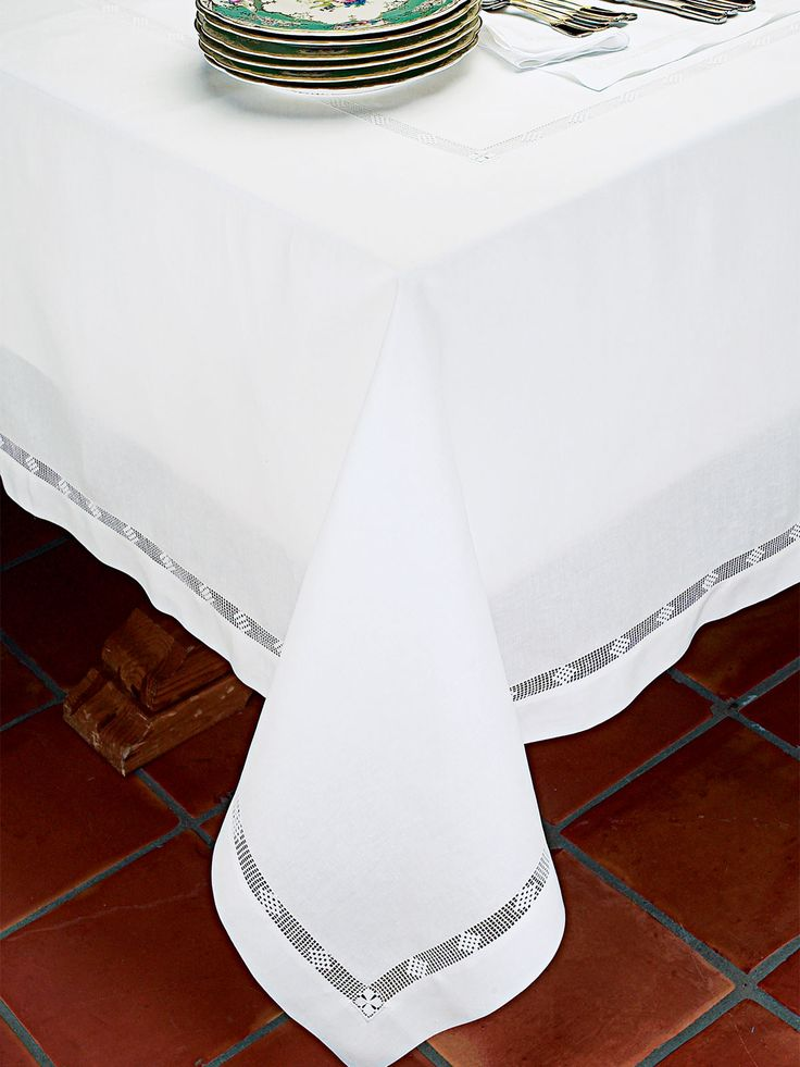 Beresford - #Luxury Table Cloths - The perfect setting for your A-list guests, be it dinner for the one you love or as many as you like. These very special #placemats, #napkins and #tablecloths are of White 100% linen from Italy. Placemats and napkins are elegantly adorned with hand-drawn spider hemstitching on all four sides. Tablecloths feature double rows of hemstitching, which makes the handwork a center of attention. Imported. Bon appetit!