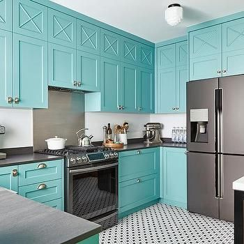 Blue Kitchen Cabinets with Vintage Hex Floor Tiles
