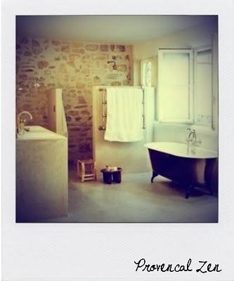 shower: Bathroom Design, Open Shower, Stones Wall, Clawfoot Tubs, Rustic Bathroom, Mary Claire, De Bain, Stones Bathroom, Master Bathroom