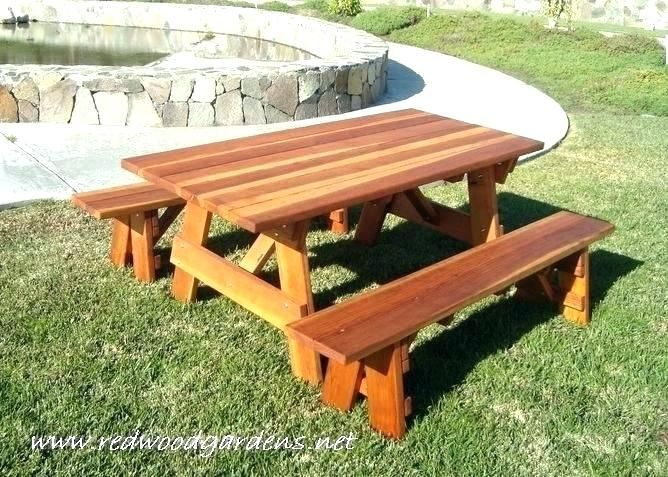 Plans For Building A Picnic Table With Separate Benches In 2020