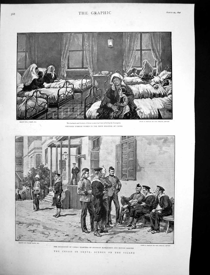 Antique Print of Crisis Crete Wounded Turkish Women Hospital Canea 1897