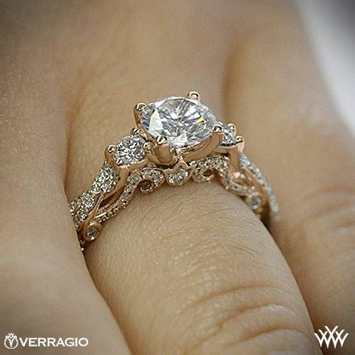20k Rose Gold Verragio INS 7074R Braided 3 Stone Engagement Ring