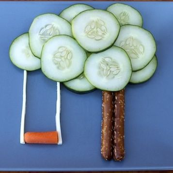 Learn how to make fun foods for kids like this sandwich shaped like a tree swing!
