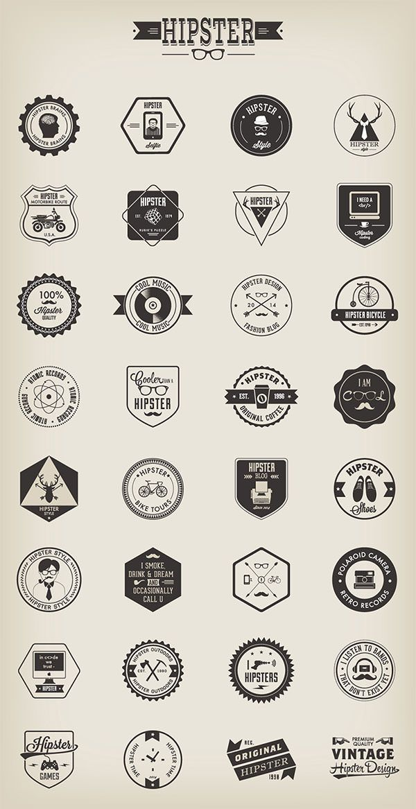 Freebie: 32 Hipster Badges (AI, EPS, PNG) | Codrops