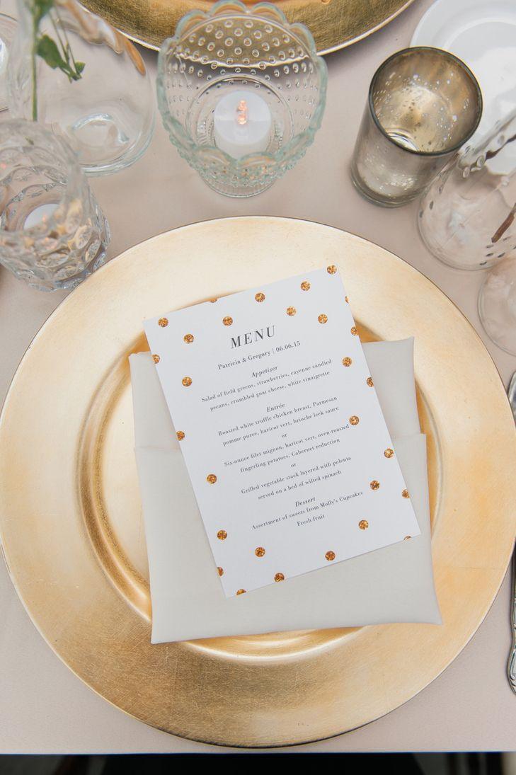 Gold Plates and Gold Glitter Polka-Dot Menus | Wedding Paper Divas | La Belle Fleur Events | Artistrie Co. https://www.theknot.com/marketplace/artistrie-co-chicago-il-396240 |