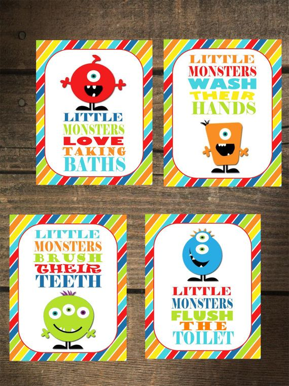 Monster Bathroom Signs Instant By Gingeyspartyplace