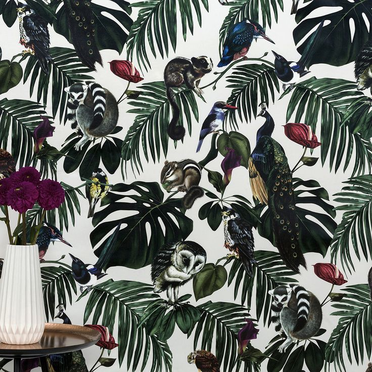 Amazonia Light Wallpaper by Witch and Watchman Featuring tropical palm leaves, cheese plants, fern leaves, peacocks, lemurs, owls and other birds and animals!