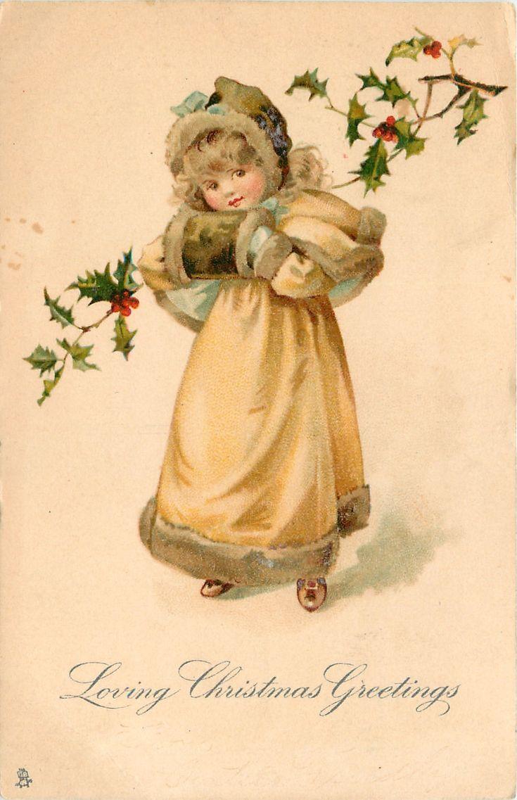 винтажная открытка к рождеству поняла