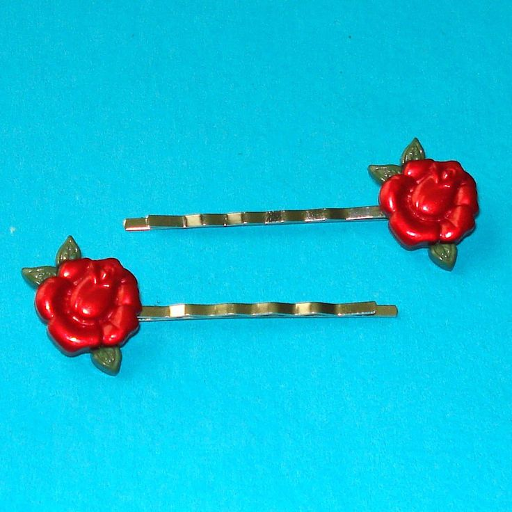 Red Rockabilly Rose Bobby Pins - Set of Two