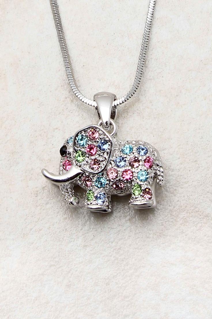 Silver Crystal Elephant Pendant | Emma Stine Jewelry Necklaces